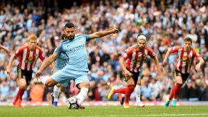 Decorative Image of Sergio Aguero scoring vs Sunderland